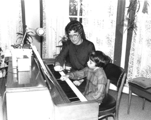 Sister Mary Margaret in the early days of the FLPC's Franciscan Rhythms music therapy program.