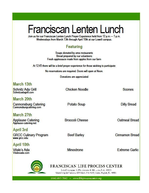 Franciscan Lenten Lunch @ Franciscan Life Process Center